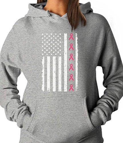 Tstars Breast Cancer Awareness Ribbons - Big American Flag Women Hoodie X-Large ()