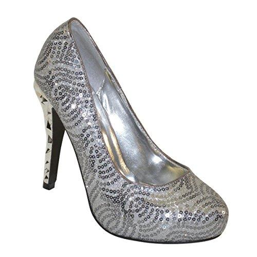 New Brieten Womens Sequins Glitter High Heel Platform Dress Pumps Pewter-Glitter ic3RE