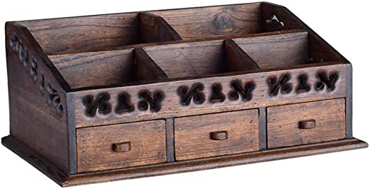Cajas Decorativas Caja de Almacenamiento de Escritorio Retro de la Caja de Almacenamiento de Escritorio Retro de la joyería del Maquillaje del cajón de Madera sólida de Tailandia Cajas de almacenaje: Amazon.es: