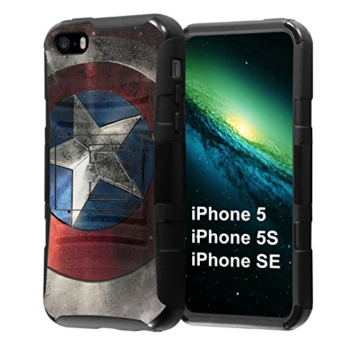 iPhone SE Case, Capsule-Case Hybrid Dual Layer Combat Full Armor Style Kickstand Case with Holster Combo (Black) for iPhone SE/iPhone 5s / iPhone 5 - (Rock Star)