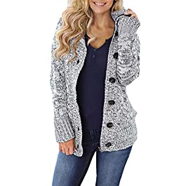 Women's Hooded Knit Cardigan Button Cable Sweater Coat
