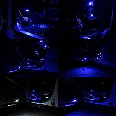 SAWE - 168 194 2825 T10 W5W 5050 5-SMD LED License Plate Dome Map Lights Bulbs (2 pieces) (Blue): Automotive