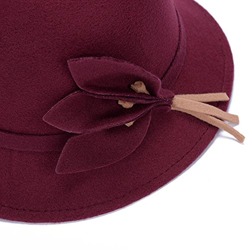 Fahion Style Woolen Cloche Bucket Hat with Flower Accent Winter Hat for Women (Burgundy-A)