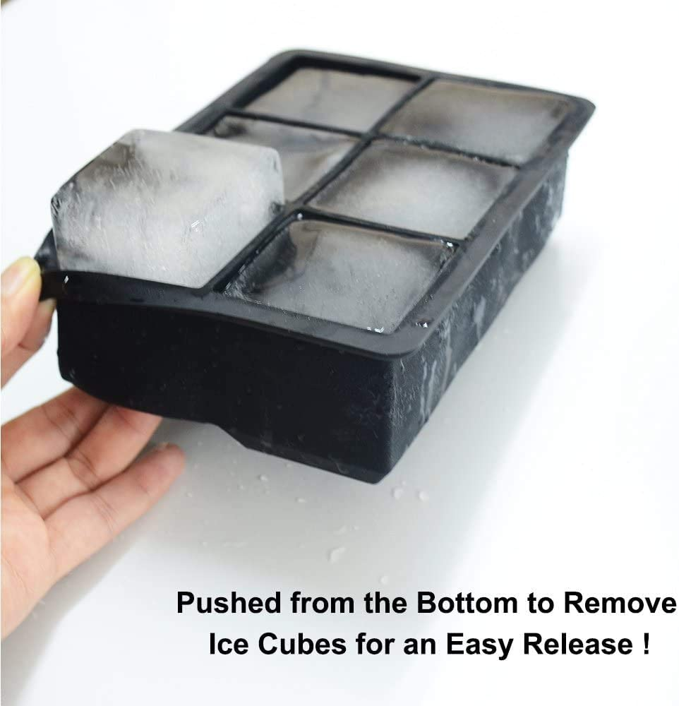 a 6 fori forma quadrata Set di 2 stampi per cubetti di ghiaccio per mantenere le bevande fredde per whisky e cocktail Celbon in silicone in silicone flessibile