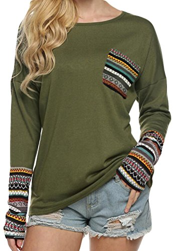 POGTMM Women's Long Sleeve O-Neck Patchwork Casual Loose T-Shirts Blouse Tops with Thumb Holes (L, ZZ New Army Green) -