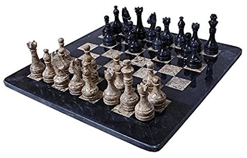 16 Inches Handmade Black and Coral Marble Full Chess Game Original Marble Chess Set Comes with Free Storage - Free Marble