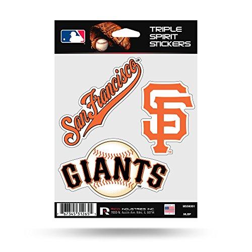 San Francisco Giants Triple Sticker Multi Decal Spirit Sheet Auto Home Baseball (Giants San Francisco Home Accessories)