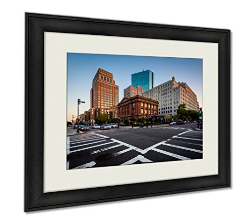 Ashley Framed Prints The Intersection Of Berkeley And Newbury Streets In Back Bay Boston, Wall Art Home Decoration, Color, 30x35 (frame size), - Shops Newbury Street