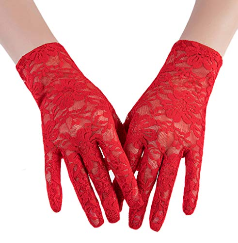 (M Bridal Women's Vintage Sheer Floral Lace Wrist Length Gloves for Wedding Party Brides Accessory G01 (Red Style B))