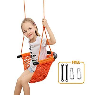 Hammock Swing Seats for Kids Heavy Duty Rope Play Secure Children Swing Set, Perfect for Indoor,Outdoor, 253 lbs Capacity: Beauty