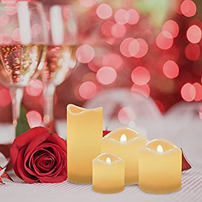 Flameless Candles, Rusee Battery Operated Flameless Led Candles Set Decorative Yellow Flame Candles with Remote Control Perfect for Christmas, Party, Wedding, Porch, Bistro, Bedroom, 4 Pack