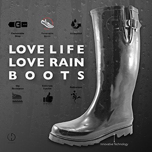 Women's Puddles Rain and Snow Boot Multi Color Mid Calf Knee High Waterproof Rainboots 2