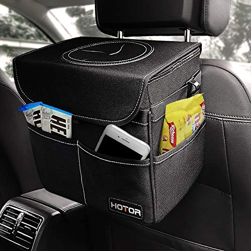 HOTOR Car Trash Can with Lid and Storage Pockets, 100% Leak-Proof Car Organizer, Waterproof Car Garbage Can, Multipurpose Trash Bin for Car - Black (Lids Car)