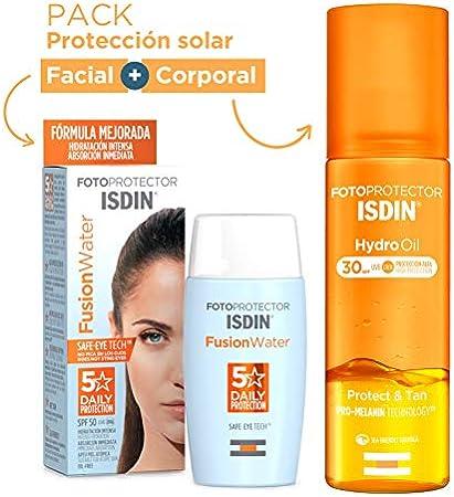 ISDIN PACK Protector Solar Facial Fusion Water SPF 50+ | Protector Solar Corporal Hydro Oil SPF 30, Protege y Broncea hasta un +43%