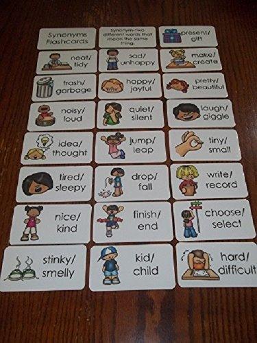 23 laminated Preschool Synonyms Flashcards. -