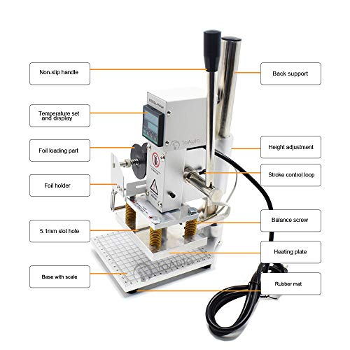 Upgraded Hot Foil Stamping Machine 10x13cm Leather Bronzing Pressure Mark Machine 110V withFull Scale onTheBasePlate for PVC Leather PU Paper Logo Embossing by FASTTOBUY (Image #2)