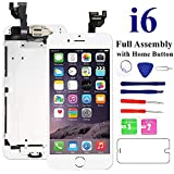 Nroech Screen Replacement for iPhone 6 (White) with Home Button, LCD Touch Screen Display Assembly Front Camera, Ear Speaker and Sensors, Repair Tools and Screen Protector