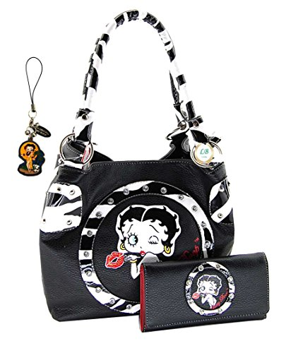 Betty Boop BQ10130 Medium Purse and Wallet Set, Zebra Circle Style