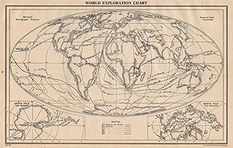Amazon world exploration explorers routes dates centuries world exploration explorers routes dates centuries bartholomew 1944 old map antique gumiabroncs Choice Image