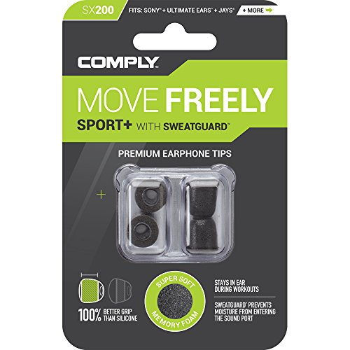 Comply Premium Replacement Foam Earphone Earbud Tips - Sport Plus Sx-200 (Medium, Black, 2-pair)