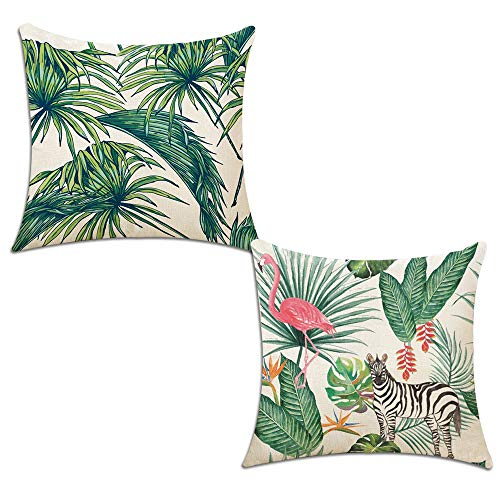 Hotipine Decorative Pillow Case Cushion Throw Pillow Covers Set of 2 Cotton Linen sofa couch Home Car Decorative 18 x 18 inch - Palm Leaves