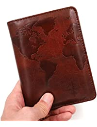 RFID Blocking Passport Holder Cover Case,travel luggage passport wallet made with Brown Map Crazy Horse PU Leather for Men & Women