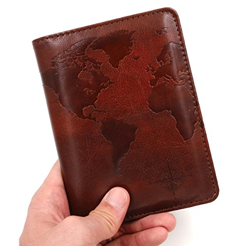 Kandouren RFID Blocking Passport Holder Cover Case,travel luggage passport wallet made with Brown Map Crazy Horse PU Leather for Men & Women