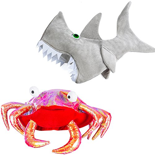 Tigerdoe Crab and Shark Hat - Fish Sea Creature Costume Silly Crazy Hats -