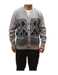 Girltalk clothing Mens Grandads Button up Argyle Diamond Cardigan