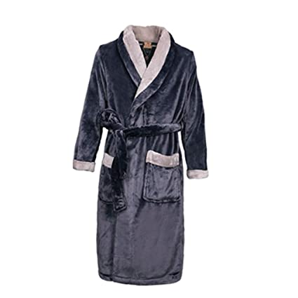 Zcx Batas De Baño para Hombre Pijamas De Franela Super Suave Shu Vestido De Mañana Batas
