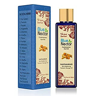 Blue Nectar Nalpamaradi Tailam For Skin Brightening with Turmeric and 16 Ayurvedic Herbs (3.4 fl oz)