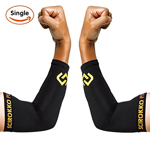 Copper Elbow Sleeve - GUARANTEED Recovery Elbow Brace For Men And Women - Elbow Support with Copper Infused Fit For Workouts, Golfers And Tennis - Wear Anywhere - Single