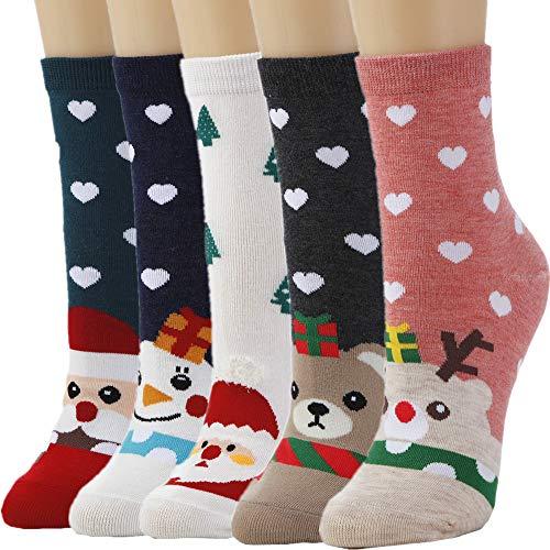 5 Pairs Women Crew Socks Casual Cute Cotton Animal Socks Long Ankle Socks Design for Girls WCS1 ()