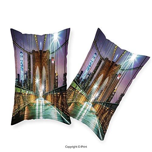 iPrint Premium Cotton Zippered Pillow Cases 2 Pack Apartment Decor Brooklyn Bridge Pedestrian Walkway Before Sunrise American Landmark Picture Print Purple Brown For home (Premium Sunrise Futon)