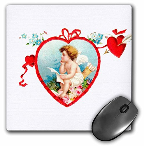 Heart Shaped Cherub - 3dRose InspirationzStore Vintage Art - Vintage Cupid in red love heart-shaped frame. Thoughtful baby angel cherub child. Romantic Valentine - MousePad (mp_161321_1)