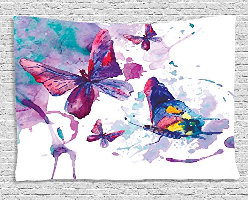 Ambesonne Butterfly Tapestry, Watercolors Print of Butterfly Sign of The Soul Power Female Art Modern Display, Wall Hanging for Bedroom Living Room Dorm, 60 W X 40 L Inches, White Purple