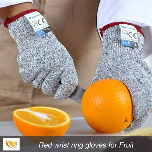 Cut Resistant Gloves Food Grade Level 5 Protection, Safety Kitchen Cuts Gloves for Oyster Shucking, Fish Fillet Processing, Meat Cutting and Wood Carving, Food Grade Level 5 (2, Small)