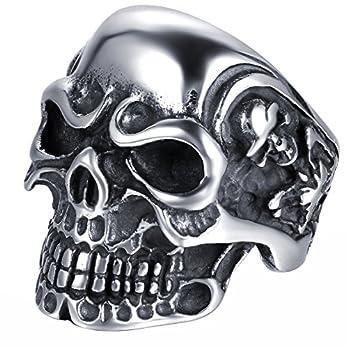 JewelryWe Herren Edelstahl Ring Biker Totenkopf Schädel Edelstahlring