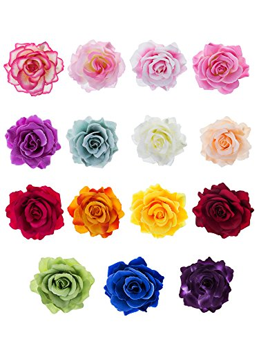 Outus 15 Pieces Rose Flower Hairpin Hair Clip Flower Pin Up Flower Brooch (Hair Flower Clips)