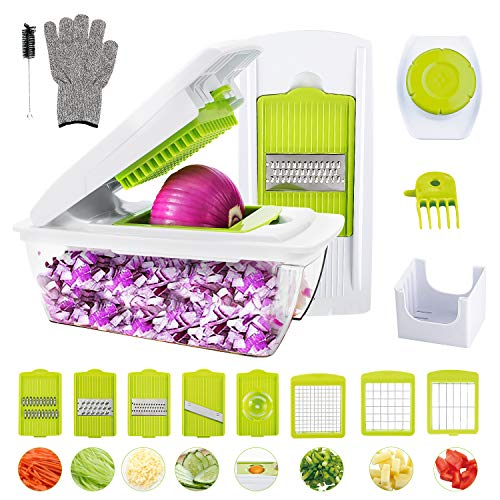 Vegetable Chopper, WOKOKO Food Chopper Cutter Onion Slicer Dicer Veggie Slicer Manual Mandoline for Garlic, Carrot, Potato, Tomato, Fruit, Salad(Can