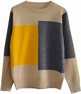 Good dress Suéter de Fondo Mujer Color a Juego a Cuadros Cuello Redondo Suéter Salvaje Mujeres Suéter, Tarjeta de Ceniza Amarilla, One Size