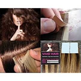 20 Pcs X 18″ inches Remy Seamless Tape In Skin weft Human Hair Extensions Color 5 / 7 W Medium Brown Mix Dark Blonde