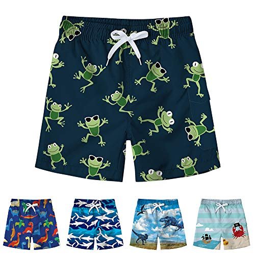 Freshhoodies Little Boys Swim Trunks 3D Graphic Beach Board Frog Tropical Hawaiian Holiday Swim Suit (Frog-1, 8-10T)
