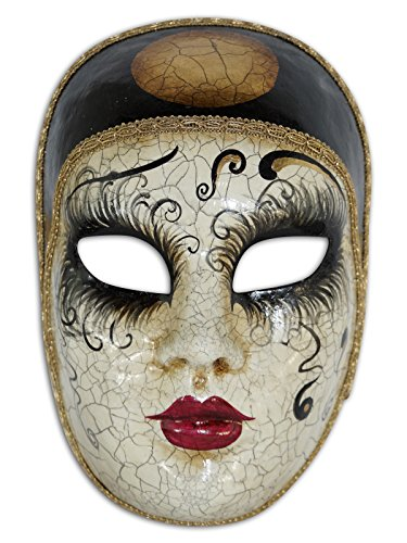 Venetian Full Face Mask Volto Pierrot for Men and Women -