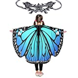 "Butterfly Wings for Girls Kids Halloween Costume Fairy Shawl Festival Rave Dress (Kids(Bluish Green) 5342"")"