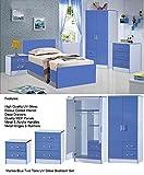 Boys Blue Gloss Bedroom Set 3 Piece - Wardrobe Chest Bedside - Marina Range