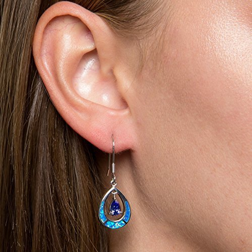 """Sterling Silver Created Opal & CZ Teardrop Earrings and Pendant Set with 18"""" Chain"""