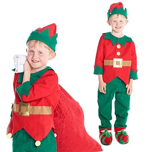 [Boys Christmas Toyshop Elf Costume Costume] (Fancy Dress Christmas Costume)