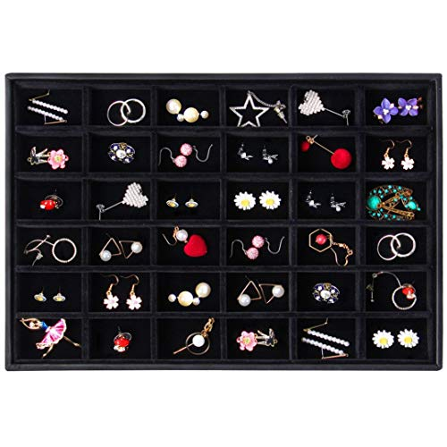 (Valdler Velvet Stackable 36 Grid Jewelry Tray Showcase Display)