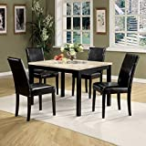 Modern 5-Piece Pack Dining Set, Brown Faux Marble & Cherry, Rectangular Table, Parson Chair, Faux Marble, Table: Wooden Square Straight Leg, Chair: Padded Seat & Back: Faux Leather Cushion